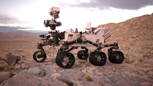 Mars Rover, robotic space autonomous vehicle on a deserted planet with water, 3D illustration Mars Rover, robotic space autonomous vehicle on a deserted planet with water and clouds, 3D illustration rover stock pictures, royalty-free photos & images