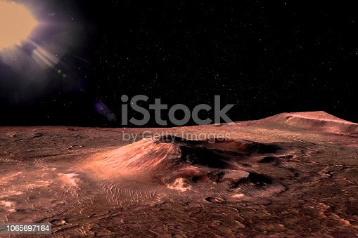 istock Mars - the red planet. Martian surface with hills and craters and dust in the atmosphere. Lens flare. The elements of this image furnished by NASA. 1065697164