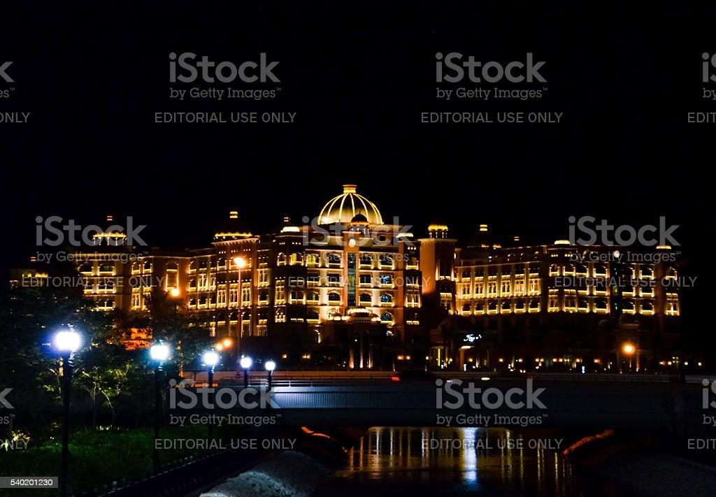 Marsa Malaz Kempinski hotel at night in Doha, Qatar stock photo