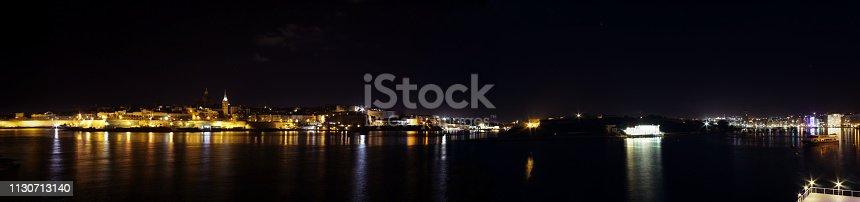 istock Marsamxett Harbour Nighttime Panorama showing Valletta Skyline, Manoel Island and Gzira waterfront 1130713140