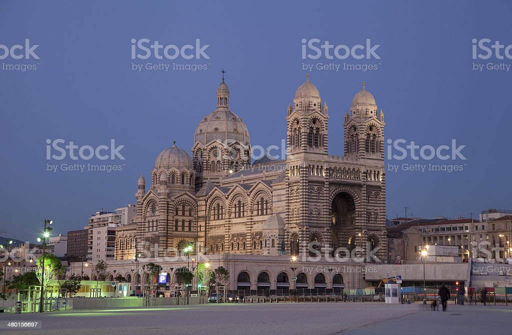 Marseille Cathedral in evening light stock photo