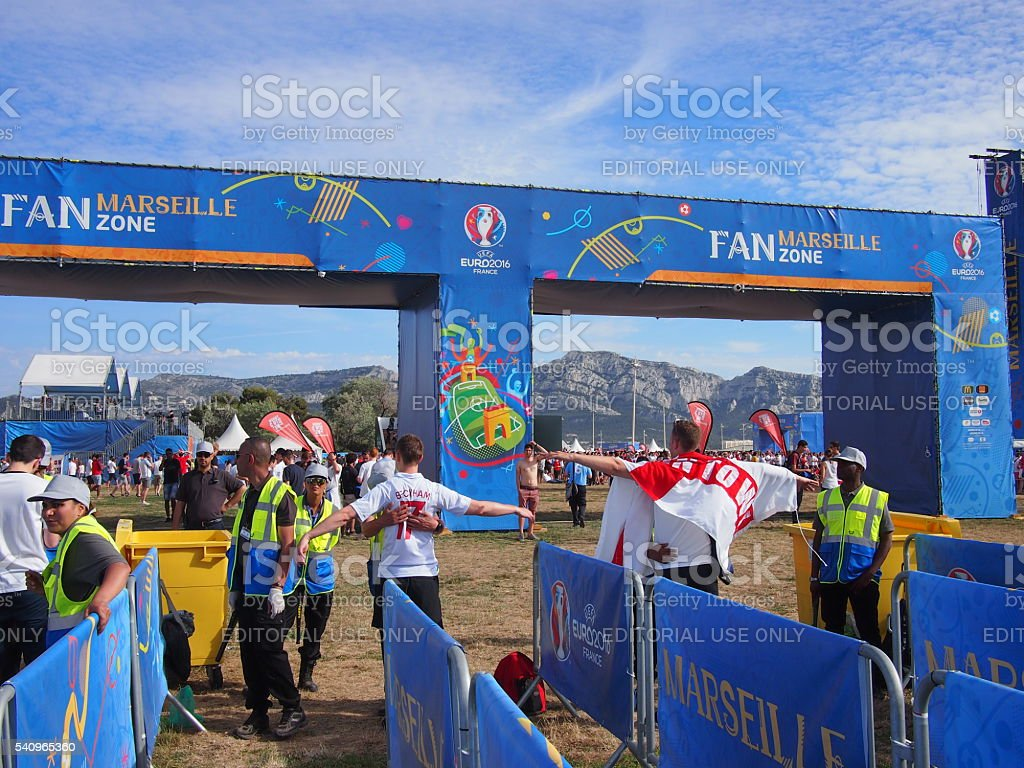 Marseille fan zone security stock photo