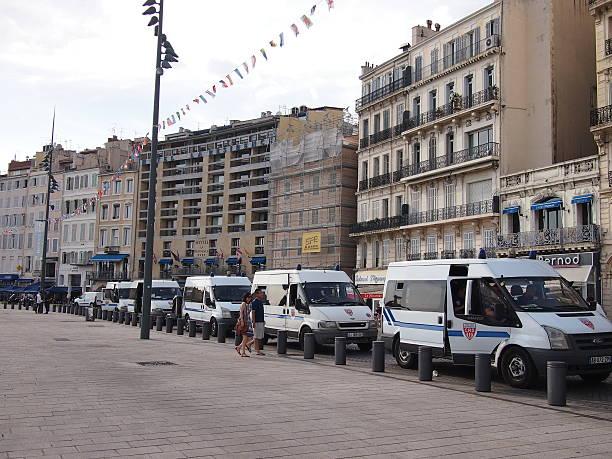 Marseille riot police stock photo