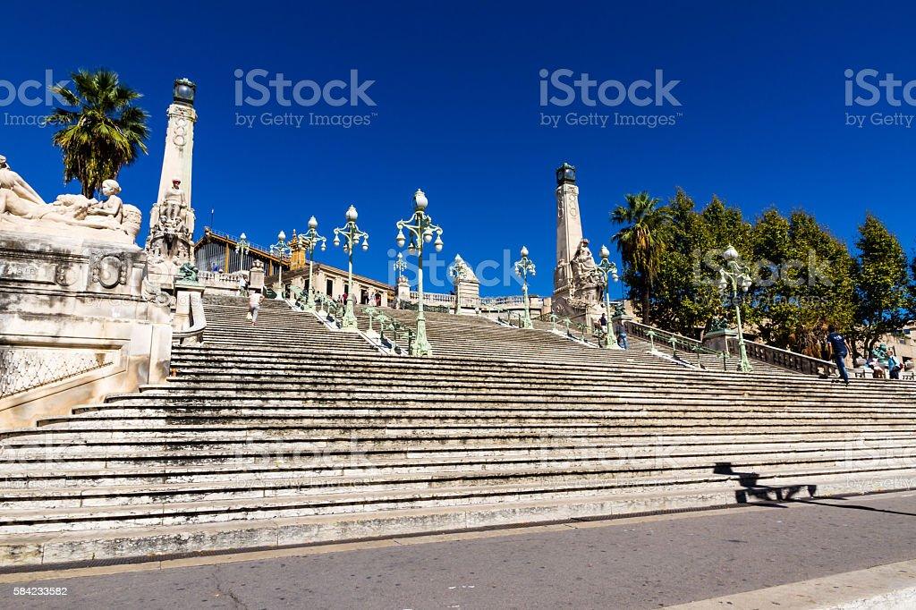 Marseille Saint Charles station, France Grand staircase at the Marseille Saint Charles station Ancient Stock Photo