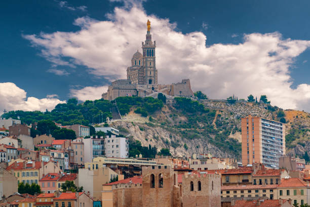 Marseille town and Basilique Notre dame de la garde. Famous tourist attraction in southern France.