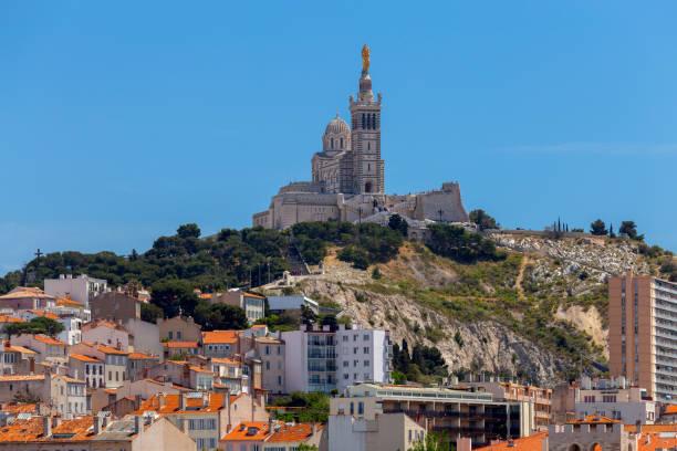 Marseilles. Notre Dame de la Garde Cathedral on a sunny day. stock photo