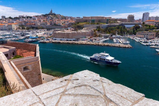 Marseilles. View of the water area of the old harbor on a sunny day. stock photo