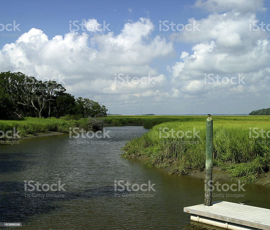 Marsh and boat dock on Sapelo Island Georgia royalty-free stock photo