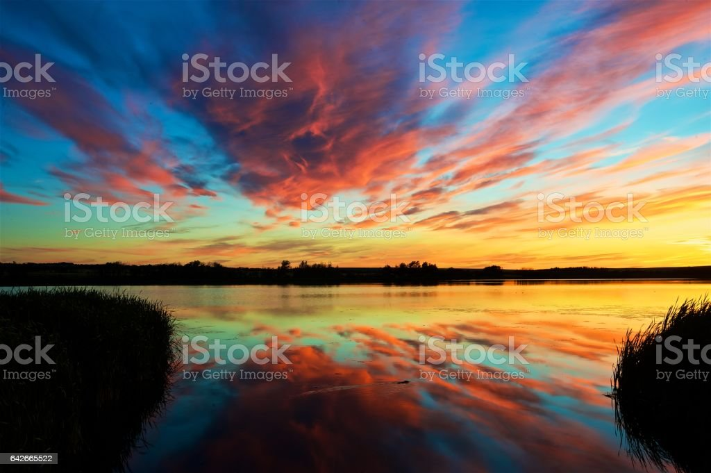 Marsh sunset stock photo