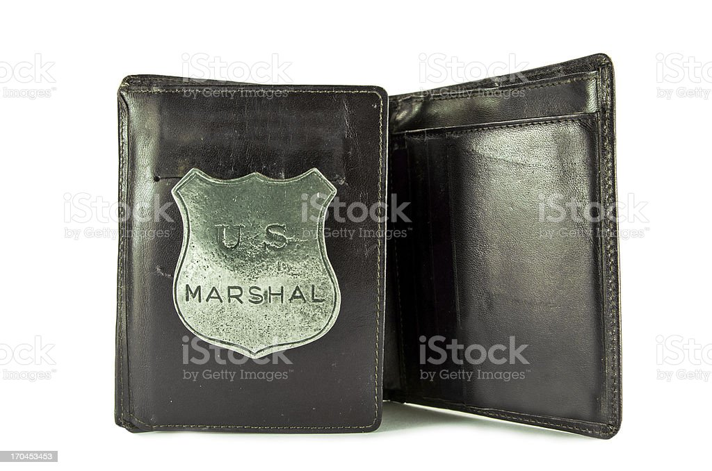 Marshal Badge in Wallet stock photo