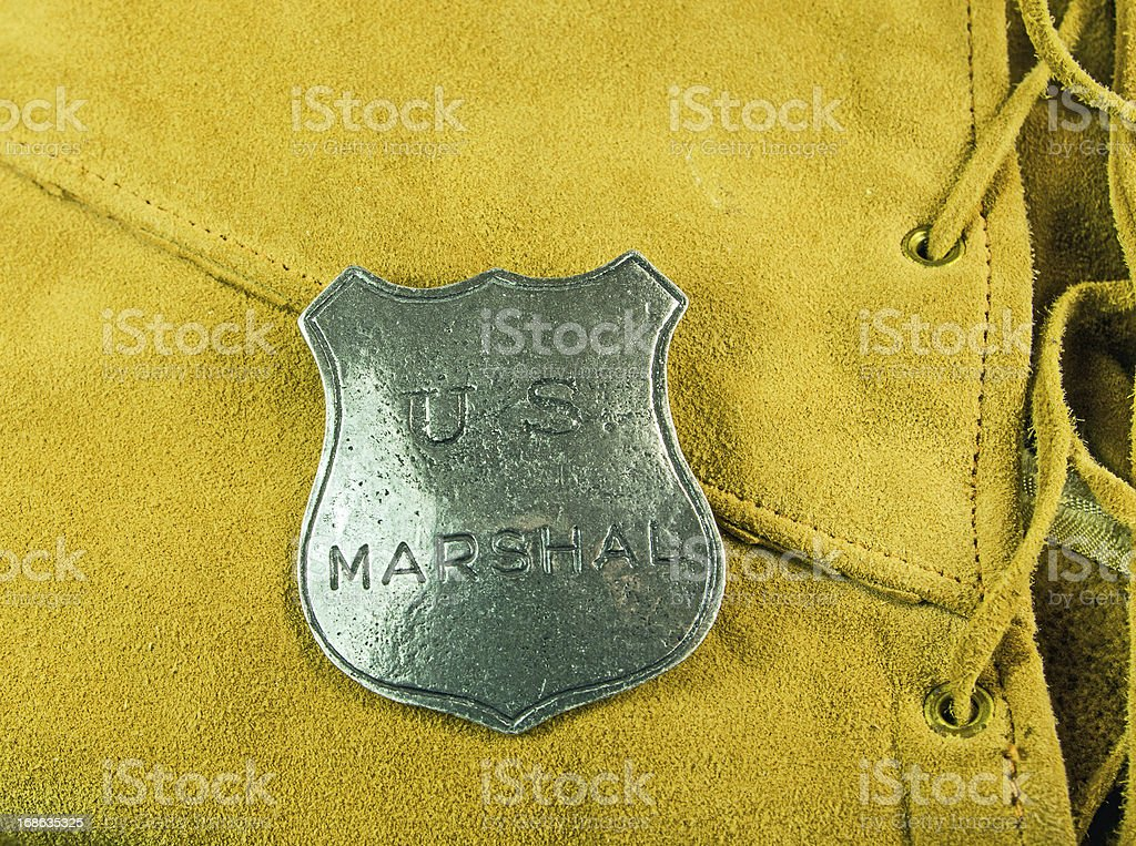 Marshal Badge on Leather stock photo