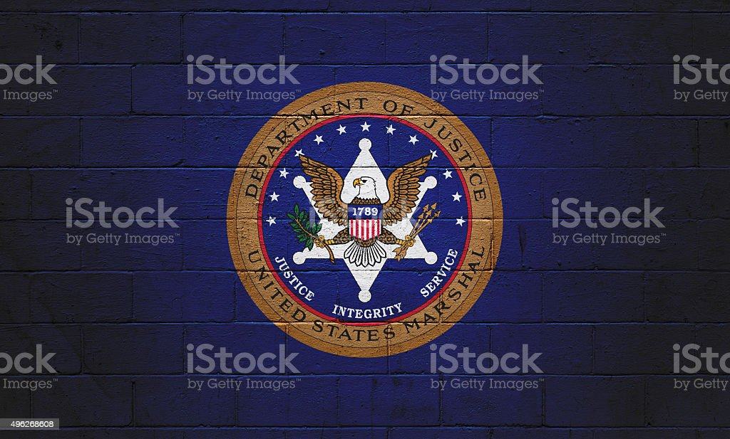 U.S. Marshal Flag painted on a wall Picture of a the  2015 Stock Photo