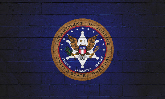 Us Marshal Flag Painted On A Wall Stock Photo - Download Image Now