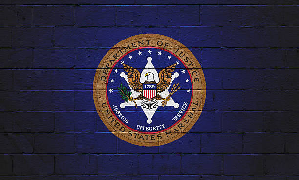 U.S. Marshal Flag painted on a wall stock photo