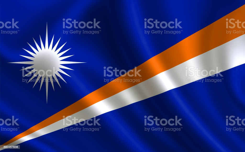 Marshall Islands flag. A series of 'Flags of the world.'  (The country - Marshall Islands flag) stock photo