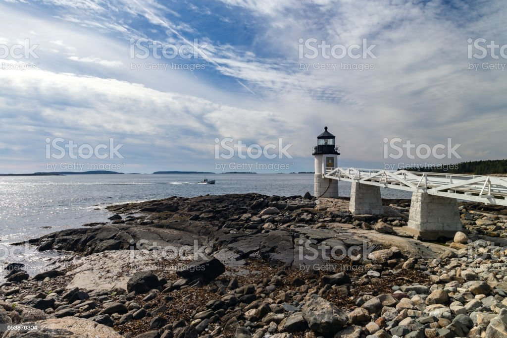 Marshall Point Light at the coast of Port Clyde, Maine. stock photo