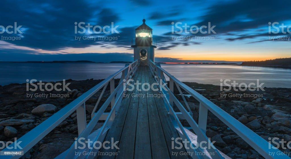 Marshall Point Lighthouse at night stock photo