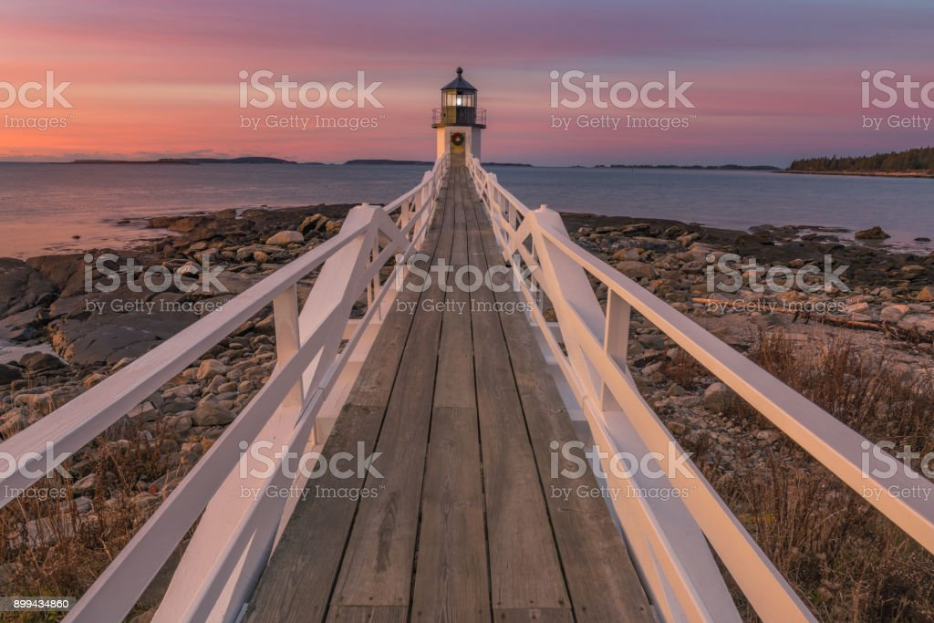 Marshall point Lighthouse at sunrise stock photo