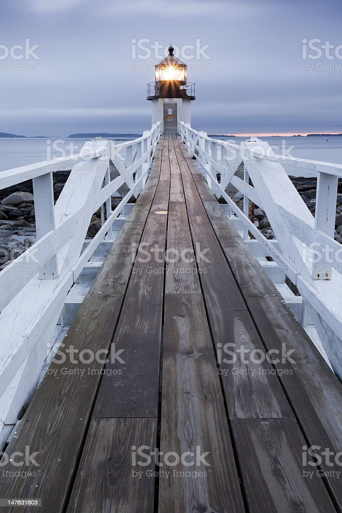 Marshall Point Lighthouse at sunset, Maine, USA royalty-free stock photo