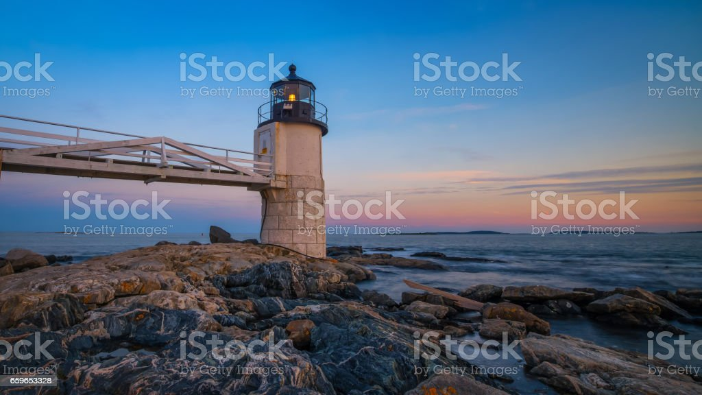 Marshall Point Lighthouse from the rocks stock photo