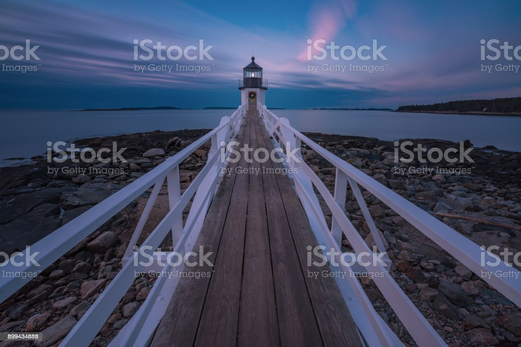 Marshall Point Lighthouse in pink sunset stock photo