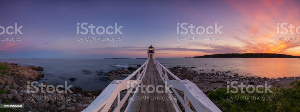 Marshall Point Lighthouse Panorama sunset stock photo