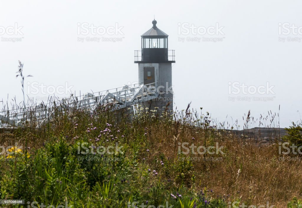 Marshall Point Lighthouse with tall grass and brush stock photo