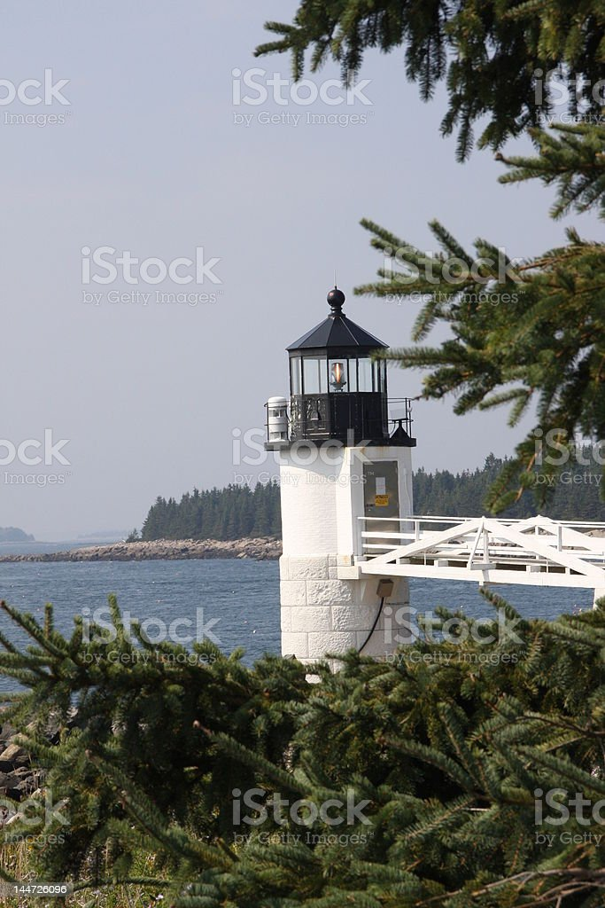 Marshall Point Lighthouse with Tree royalty-free stock photo