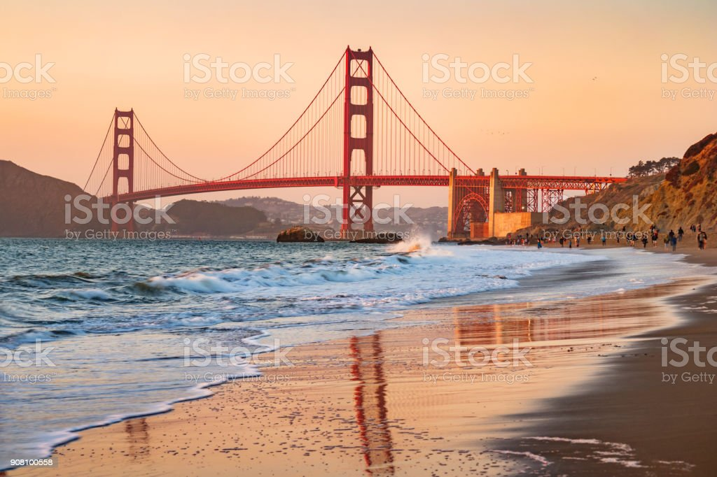 Marshall's Beach and Golden Gate Bridge in San Francisco California stock photo