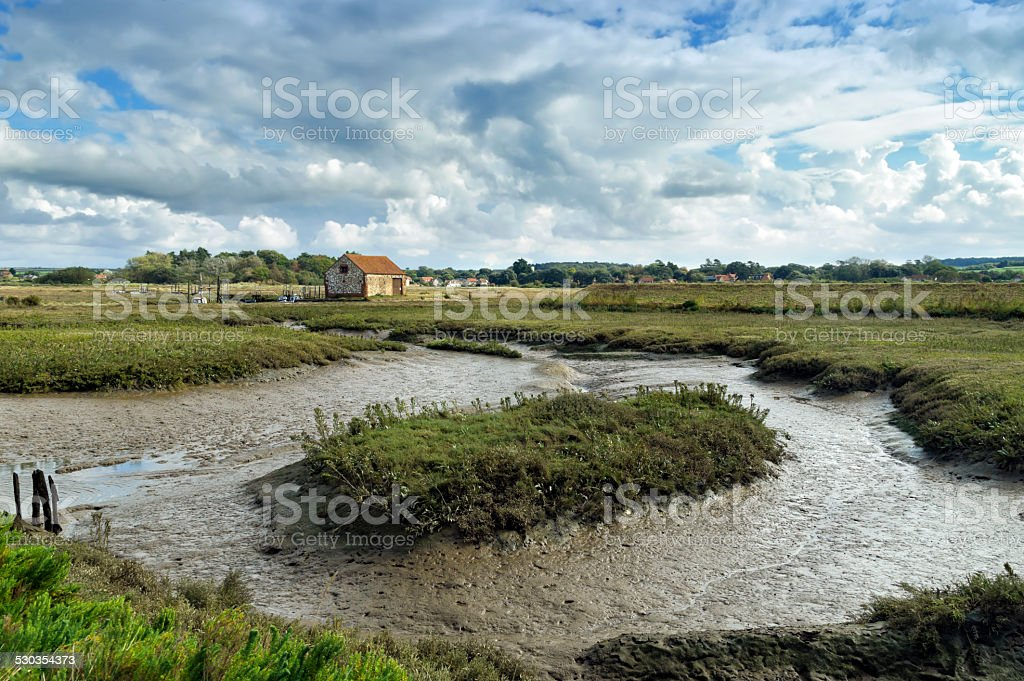 Marshes at Thornham, Norfolk, looking inland stock photo