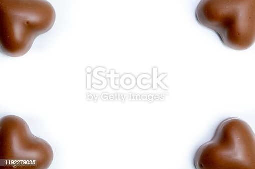 183269671 istock photo marshmallow chocolate in heart shape on white background with copyspace 1192279035