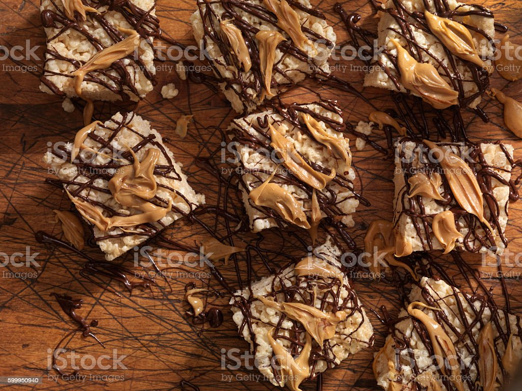 Marshmallow Crispy Rice Squares with Chocolate and Peanut Butter stock photo