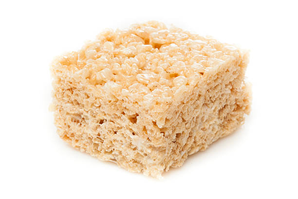 Marshmallow crispy rice treat against white background stock photo