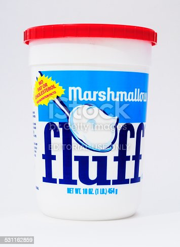 Sandwich, Massachusetts, USA - February 15, 2012: Marshmallow Fluff, manufactured in Lynn, Massachusetts by Durkee Mower Corp.  has been a regional Massachusetts favorite for over 75 years. It has been one of the two main ingrediants along with peanut butter,  of the popular school lunch sandwich the