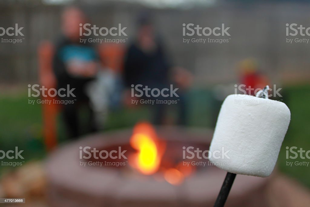 Marshmallow on a stick with fire in background stock photo