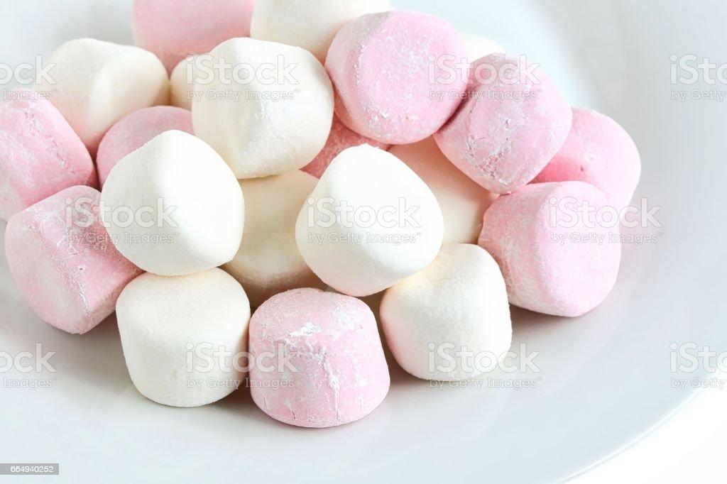 Marshmallow on Plate stock photo