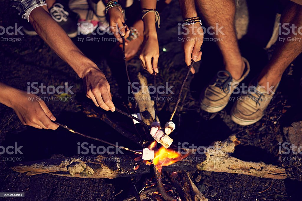 Marshmallow over fire stock photo