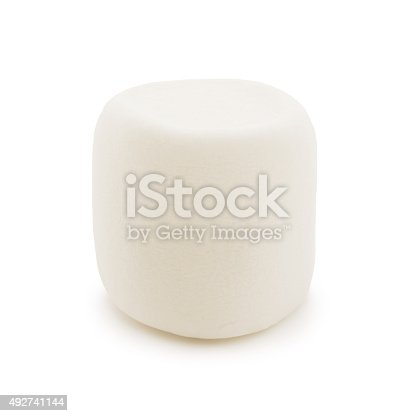 Single marshmallow isolated on white (excluding the shadow)