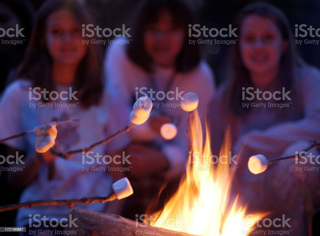 marshmallow toasting toasting marshmallows over a campfire. This image is not sharp focused. The fire in the foreground is clear-very shallow DOF. Bonfire Stock Photo