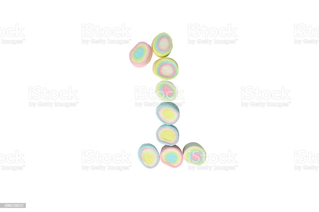 marshmallows alphabet and set of numbers. Digit 1, one foto royalty-free