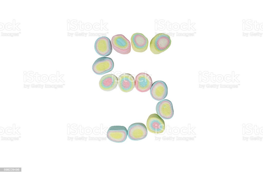 marshmallows alphabet and set of numbers. Digit 5, five foto royalty-free