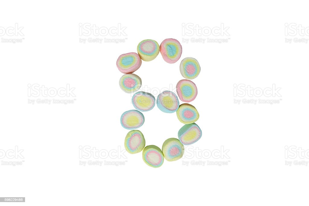 marshmallows alphabet and set of numbers. Digit 8, eight foto royalty-free