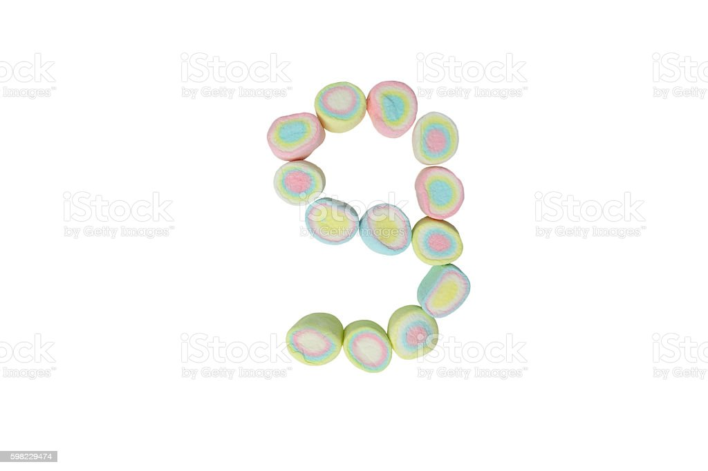 marshmallows alphabet and set of numbers. Digit 9, nine foto royalty-free
