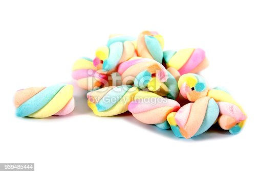 Marshmallows candy isolated on white background.Colorful marshmallows isolated