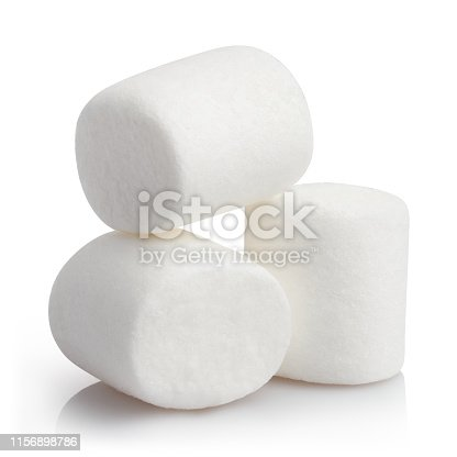 Heap of delicious marshmallows, isolated on white background