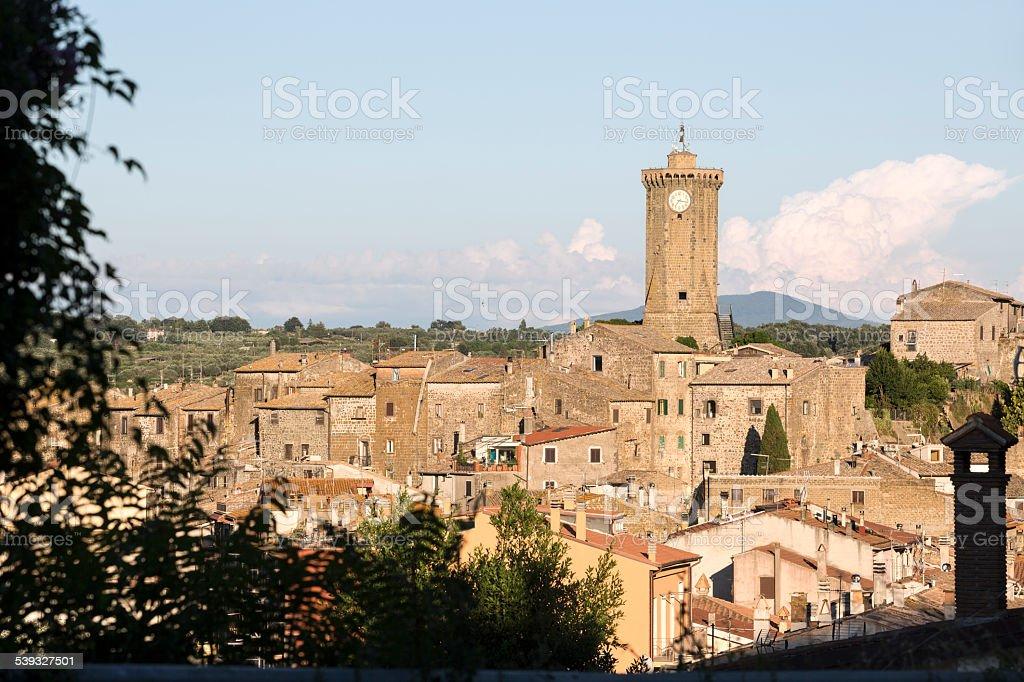 Marta skyline with Torre dell'Orologio, lago di Bolsena Lazio stock photo
