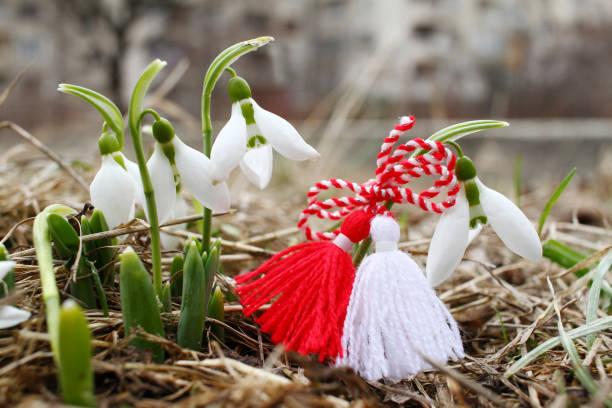Martenitsa and snowdrops, spring stock photo