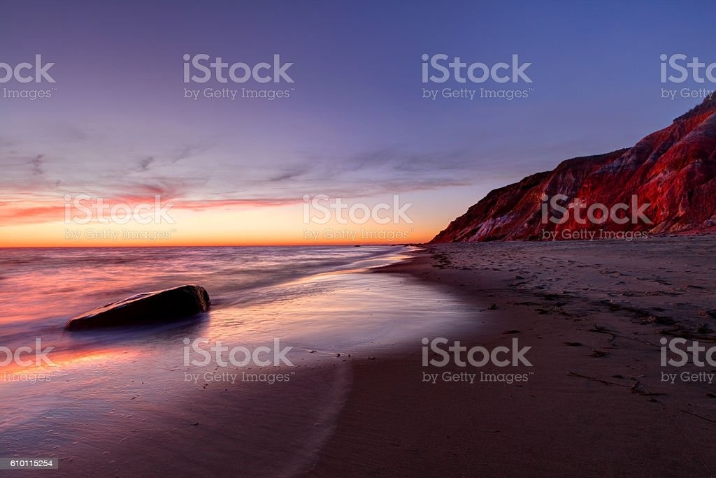 Marthas Vineyard colorful Aquinnah Cliffs stock photo