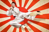 Martial art flying kick