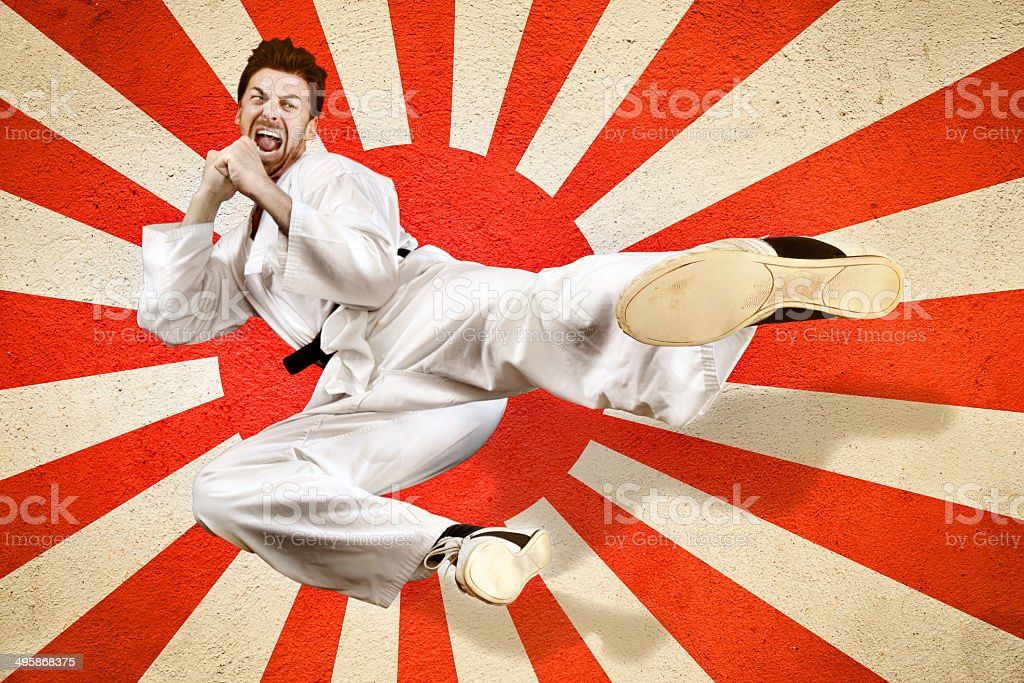 Martial art flying kick stock photo